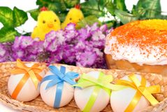 Easter background with cake, eggs Stock Photos