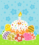 Easter background with cake and eggs Stock Photography