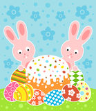 Easter background with cake and rabbits Royalty Free Stock Images