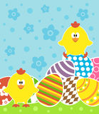 Easter background with chickens and eggs Stock Images