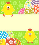 Easter background with eggs and funny chickens Royalty Free Stock Images