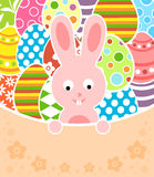 Easter background with eggs and rabbit Stock Photo