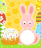 Easter background with rabbit and cake Stock Photography