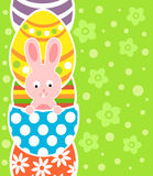 Easter background with rabbit and eggs Stock Photo