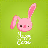 Easter background with cartoon cute bunny Stock Images