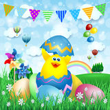 Easter background with chick and Easter eggs Stock Photo
