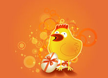 Easter background with chicken Royalty Free Stock Image
