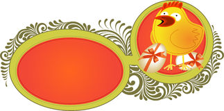 Easter background with chicken Stock Images