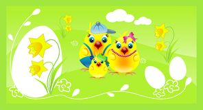 Easter background with chickens family Stock Photography