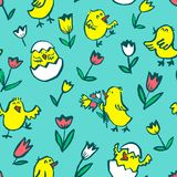 Easter background with chickens. Floral spring seamless pattern. With Easter chick in egg and tulips. Vector illustration in doodle children style Royalty Free Illustration