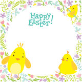 Easter background with chicks and decorations on the background. Stock Photos