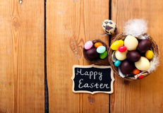 Easter background with chocolate Royalty Free Stock Images