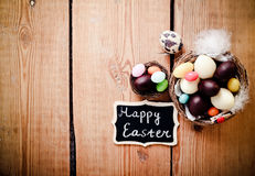 Easter background with chocolate Stock Photo