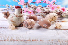 Easter background  with clay hen and eggs Royalty Free Stock Images