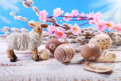 Easter background  with clay lamb and eggs Royalty Free Stock Image