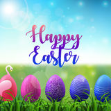 Easter background with colored easter eggs in the grass on sunny sky background Stock Image