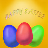 Easter background with colored eggs. Easter holiday themed illustration. on nice yellow background shows three realistic eggs red, blue and green colors. at the Royalty Free Stock Images