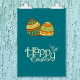 Easter background with colorful doodle eggs Stock Photos