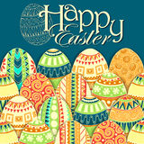 Easter background with colorful doodle eggs Stock Image
