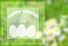 Easter background with colorful eggs. In grass Stock Photography