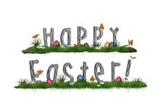 Easter background with eggs in the grass Stock Images