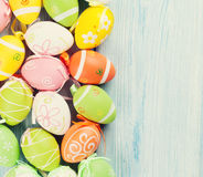 Easter background with colorful eggs royalty free stock photo