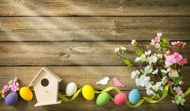 Easter background with colorful eggs and spring flowers stock images