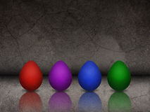 Easter background with colorful eggs and textured wall Royalty Free Stock Photos
