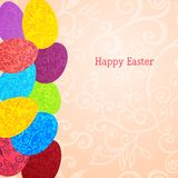 Easter background with colorful ornament eggs Stock Photography