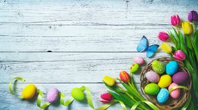 Easter background. Colorful spring tulips with butterflies and p Royalty Free Stock Image