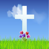 Easter background with Cross and tulips on a blue sky Royalty Free Stock Images
