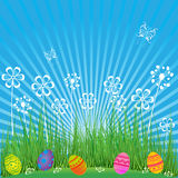 Easter Background with cute eggs, flowers and butterflies. Cartoon spring scene with grass,sky and colored eggs in field. For holi stock illustration