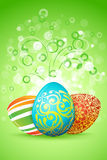 Easter Background with Decorated Eggs Royalty Free Stock Photography