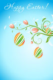 Easter Background with Decorated Eggs Stock Photos