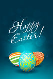 Easter Background with Decorated Eggs Stock Photo