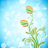 Easter Background with Decorated Eggs Stock Images