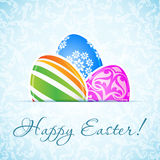 Easter Background with Decorated Eggs Stock Image