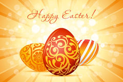 Easter Background with Decorated Eggs Royalty Free Stock Images