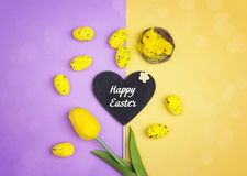 Easter background with decorative eggs, chicken and tulip. Royalty Free Stock Image
