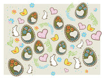 Easter background with design elements Stock Photo