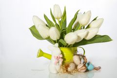 Easter background-Easter Bunny and decorated with quail eggs and a watering can with tulips royalty free stock photos