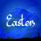 Easter background, with easter bunny and eggs. Nice Easter Flyer, Card.  Royalty Free Stock Photo