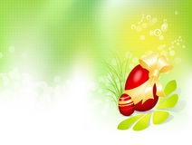 Easter background with Easter egg. Vector Easter design with spring background and red egg, golden bow, ribbon and flower - green to white gradient royalty free illustration