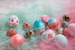 Easter background, Easter eggs. Stock Photos