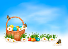 Easter background with Easter eggs in basket Royalty Free Stock Photography