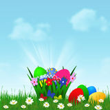 Easter background with Easter eggs. In basket Stock Images