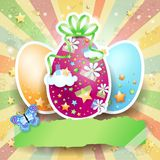 Easter background with Easter eggs and butterfly Royalty Free Stock Image