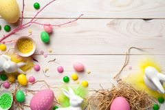 Easter background with easter eggs Stock Photos