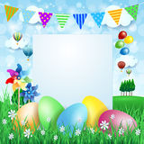 Easter background with Easter eggs and copy space Stock Photos