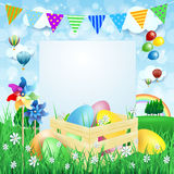 Easter background with Easter eggs and copy space Stock Photography